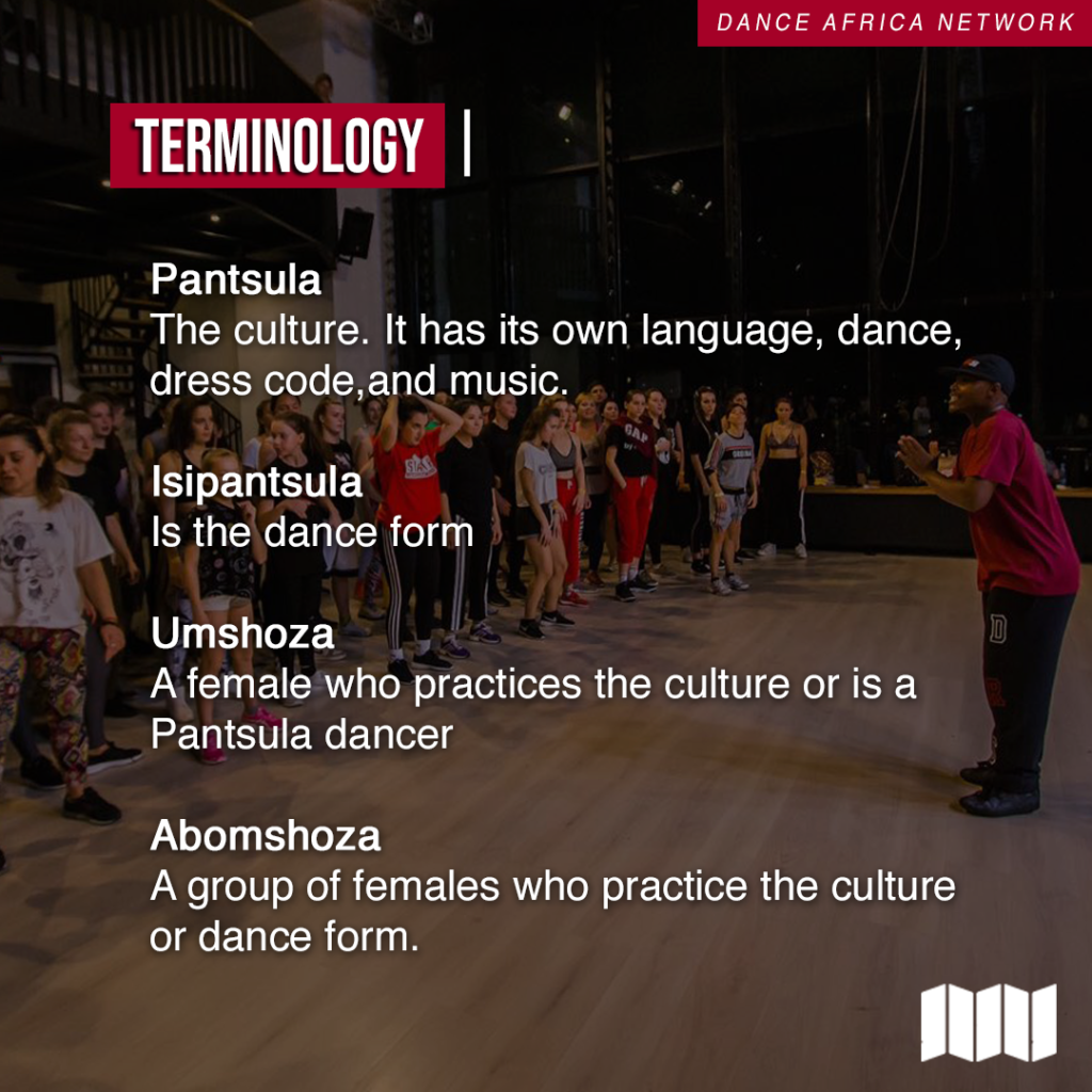 Terminology Pantsula the culture has its own language dance dress code and music umshoza a female who practices the culture or is a dancer abomshoza a group of females who practice the culture or dance form